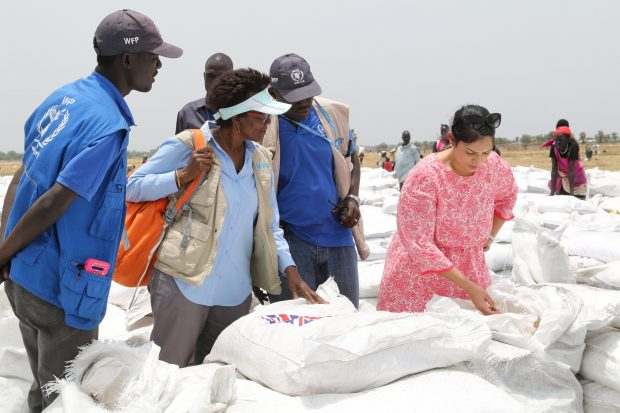 Priti Patel sees UK aid in South Sudan. Picture: Rob Oxley/DFID