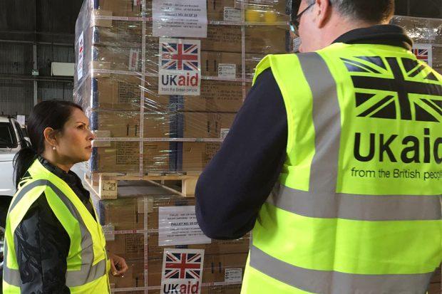 Priti Patel visits UK aid stores