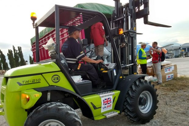 UK aid forklift at Palu airport