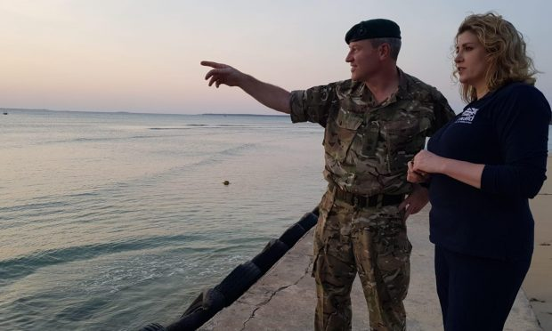 Penny Mordaunt with Lt Col Peter Kemp of the Royal Marines in Tanzania.