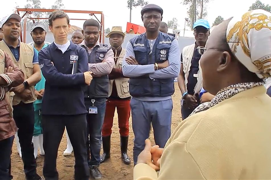 International Development Secretary Rory Stewart talks to Congolese health workers at an Ebola Treatment Centre in Katwa, eastern Democratic Republic of the Congo.