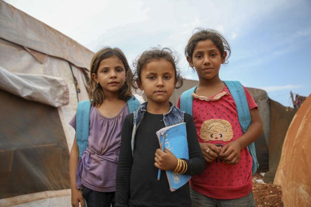 Syrian children in a camp for people displaced by conflict in Idlib governorate, Syria, October 2018. Picture credit: UNICEF/Aaref Watad