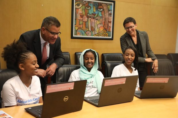 International Development Secretary Alok Sharma meets girls learning how to code during a recent trip to Ethiopia. Picture: DFID/Anna Dubuis